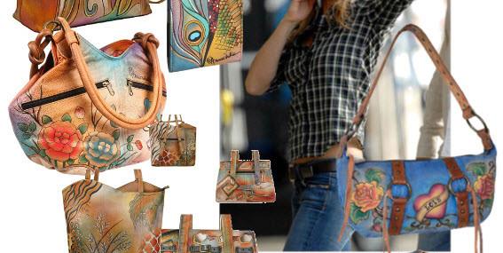 Genti pictate Anuschka din piele naturala – Idei de cadouri pentru femei