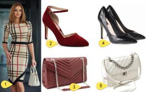Rochie eleganta cu imprimeu Burberry cu pantofi si geanta